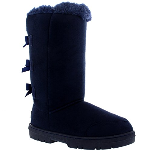 Rain Classic Boots Bow Triplet Winter Waterproof Womens Tall Snow Navy qUZxaY7
