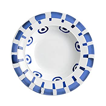 Image of Dinner Plates iSi Mix MIX013 Lake Blue Dinner Plate Set, Presentation/Plate/Bowl, Porcelain White with Blue Decor