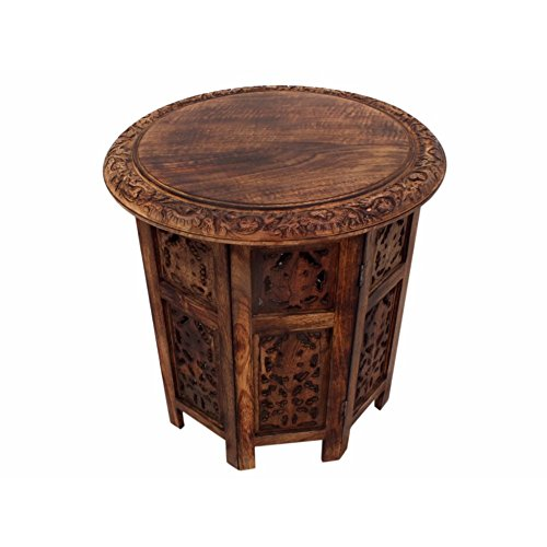 The Urban Port 148946 Wooden Hand Carved Folding Accent Coffee Table, Brown