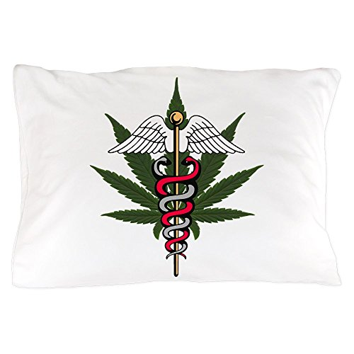 Pillow Case Medical Marijuana Caduceus Symbol