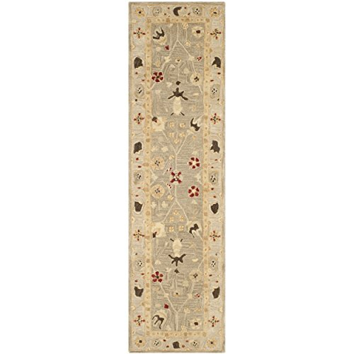 Safavieh Anatolia Collection AN559A Handmade Traditional Oriental Grey Blue and Mint Wool Runner (2'3