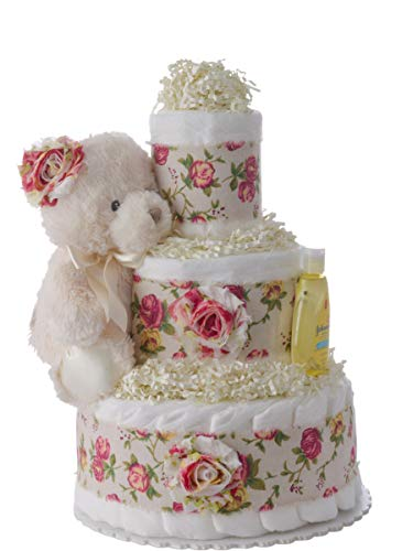 "Baby Girl Diaper Cake""Rosie"" - 12 inch x 10 inch - Beautiful Baby Gift for Girls with Usable Pamper Swaddler Size 1 Diapers - The Original 3 Tier Diaper Cakes Designed by Lil' Baby Cakes from Lil' Baby Cakes"