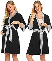 Ekouaer Maternity Robe Nursing 3 in 1 Labor Delivery Gown Breastfeeding Dress