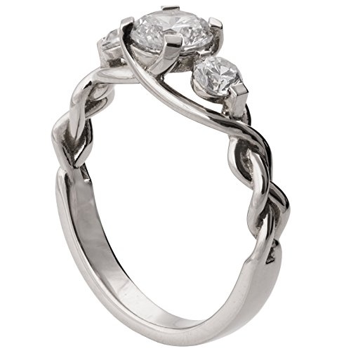 Solid 18K White Gold Three Stone Braided Engagement Ring For Women Set With Three Forever Brilliant Moissanite stones Unique Sets Promise Band Celtic Woven by Doron Merav