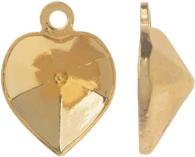 Swarovski Ajuste de Colgante de Piedra Cristal, se Adapta al corazón # 4884 de 8.8x8 mm, 2 Piezas, Chapado en Oro