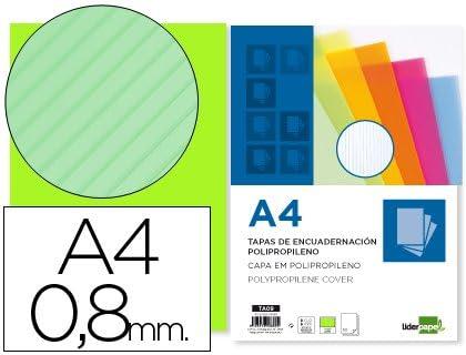 Liderpapel 64099 - Pack de 50 tapas de encuadernación polipropileno ondulado 0.8 mm, A4, transparente: Amazon.es: Oficina y papelería