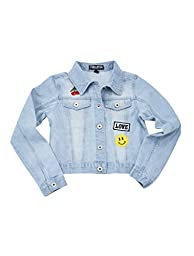 [A337084-DNM-5/6G] Chilipop Denim Jacket for Little & Big Girls with Patches