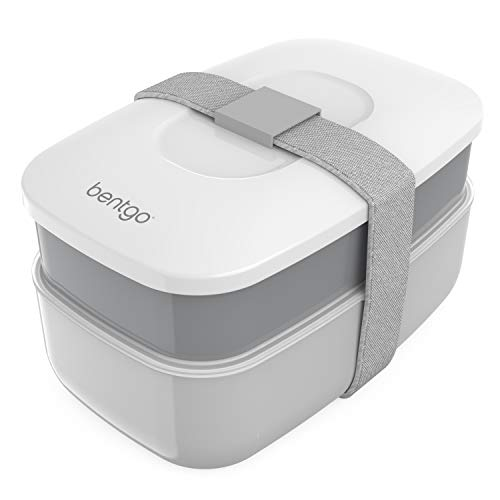 Microwave Lunch Box - Bentgo Classic (Gray) - All-in-One Stackable Lunch Box Solution - Sleek and Modern Bento Box Design Includes 2 Stackable Containers, Built-in Plastic Silverware, and Sealing Strap