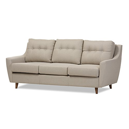 Baxton Studio Megane Fabric Upholstered Tufted 3-Seater Sofa, Light Beige