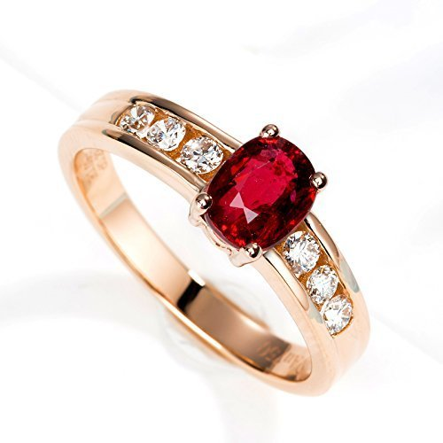 Channel Solitaire (Ruby Engagement ring set 14K Solitaire engagement ring Rose Gold Channel set diamond ring Natural Ruby ring Dainty Promise ring Anniversary ring)
