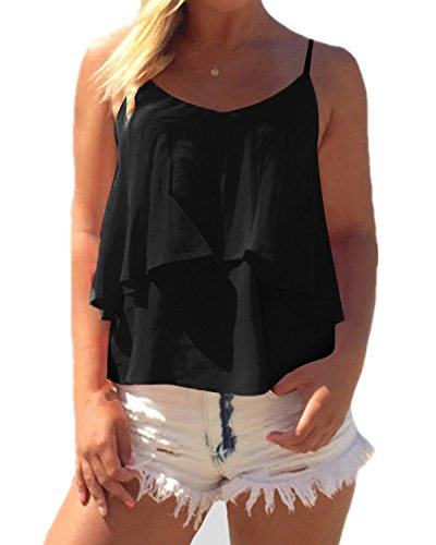 Maniche nbsp;Estate a V Donna Top Nero Chiffon Shirt Chiffon Beach Senza T Casual Elegante Scollo ZANZEA qXSUgHg