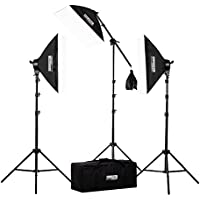 Fovitec  StudioPRO - 3x 20x28 Softbox Lighting Kit w/ 2500 W Total Output - [Classic][Includes Boom, Stands, Softboxes, Socket Heads, 11x 45W Bulbs]