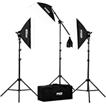 "Fovitec - 3x 20""x28"" Softbox Continuous Lighting Kit w/ 2500W Equivalent Total Output - [Includes Boom, Stands, Softboxes, Bag, 11x 45W Bulbs]"