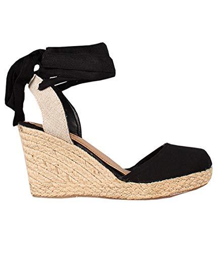 Espadrilles Canvas Shoes - Womens Closed Toe Lace Up Espadrille Platform Wedges Sandals Shoes Canvas Ankle Tie Strap Dress Shoes