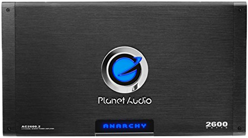 (Planet Audio AC2600.2 Anarchy 2600 Watt, 2 Channel, 2/4 Ohm Stable Class A/B, Full Range, Bridgeable, MOSFET Car Amplifier with Remote Subwoofer Control)