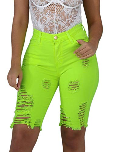 ALLUMK Womens High Waist Ripped Hole Washed Distressed Short Jeans Skinny Green Pants L