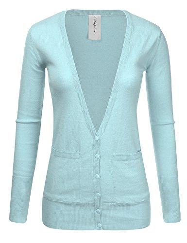 JJ Perfection Womens Ribbed Knit Deep V Long Sleeve Cardigan w/Dual Pockets