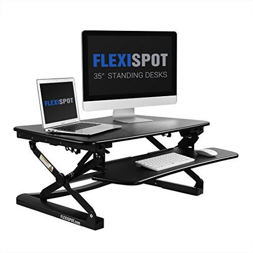 FlexiSpot Stand up Desk - 35 Height Adjustable Standing Desk Riser with Removable Keyboard Tray (Black)