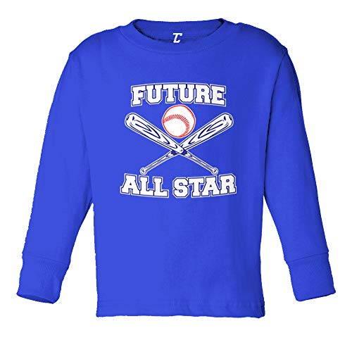 (Tcombo Future All Star - Baseball Long Sleeve Toddler Cotton Jersey Shirt (Royal Blue, 3T))