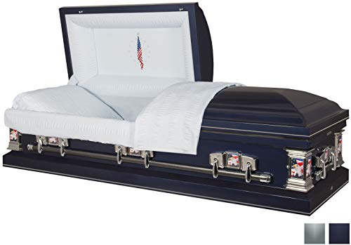 Titan Casket - Veteran Dark Blue Casket with Light Blue Crepe Interior