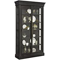 Pulaski Charcoal Sliding Bypass Door Curio Cabinet, Black