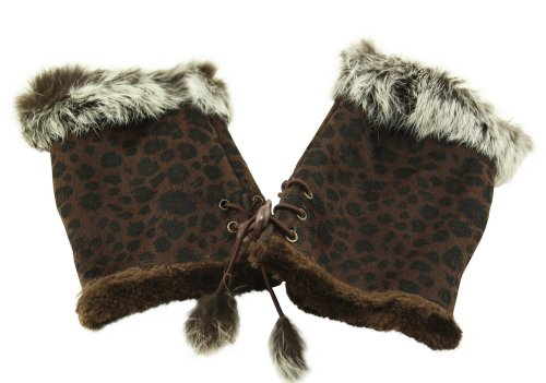 Leopard Print Fingerless Gloves - UD Accessories Women's Leopard Print Mittens Faux Suede Fur Lined Fingerless Gloves One Size Brown