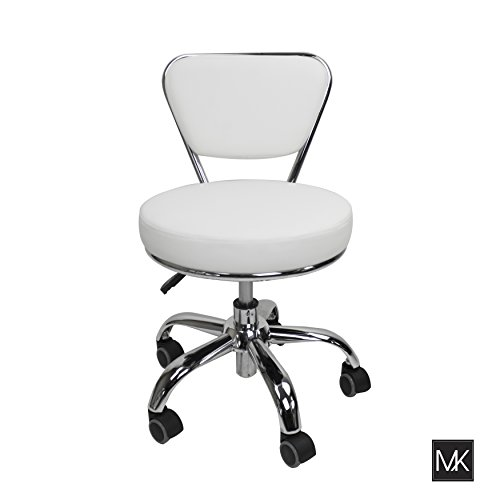 MAYAKOBA Salon Nail Pedicure Stool Pedicure Chair DAYTON WHITE Pneumatic, Adjustable, Rolling Salon Furniture Equipment