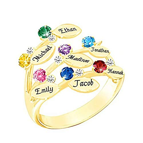 - Women's Rings Custom Made Birthstone and Engraved Name Personalized Silver Bands Promise Gift Rings for Family Women Girls Mom