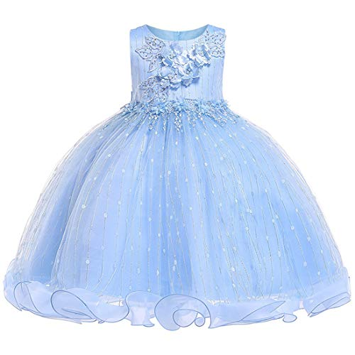Dresses for Girls 4T Light Blue Wedding Party Lace Dress 3-5 Years Formal Easter Tutu Dresses Sleeveless Flower Ball Gown Knee Length Size 3 4 Children Cute Father Daughter Dance Dress (Blue 110) ()