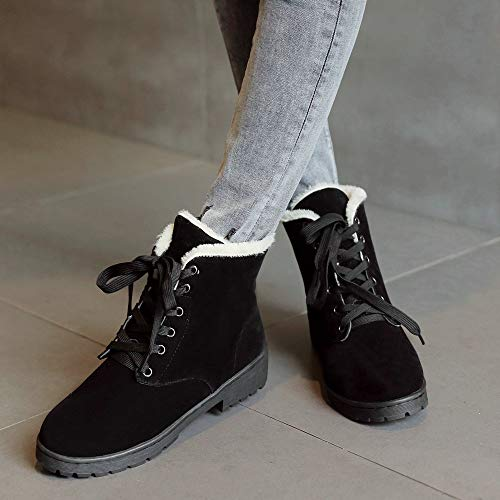 Platform Sneaker Fashion Snow Ladies Shoes Lace Boots Suede Flats Winter Black AnMengXinLing up Women ZHqfw