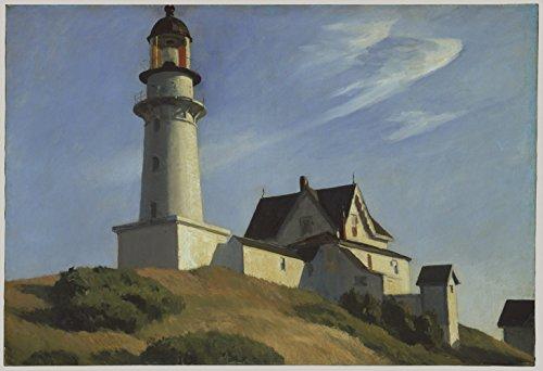 Two Hopper (Edward Hopper - Lighthouse at Two Lights - Small - Semi Gloss - Unframed Vintage Wall Art Poster Picture Giclee Artwork Modern Contemporary & Fine Art Print)