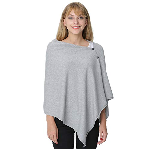 Cotton Fleece Poncho - PULI Women's Versatile Knitted Scarf with Buttons Light Weight Spring Summer Autumn Shawl Poncho Cape Cardigan, Grey