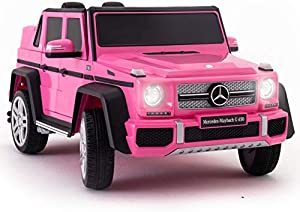 2021 Mercedes Maybach G650 Ride On Kids Car w/ Remote - Large 12V Battery Licensed Kid Car to Drive 3 Speeds, Leather Seat, MP3 Wireless Music, Rubber Tires - Pink