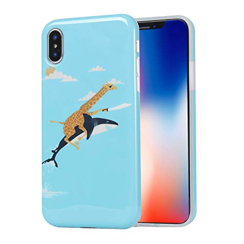 Unique Design Soft Flexible TPU Phone Case for iPhone Xs Max (2018) 6.5-inch - Marvelous Funny Giraffe Shark ()