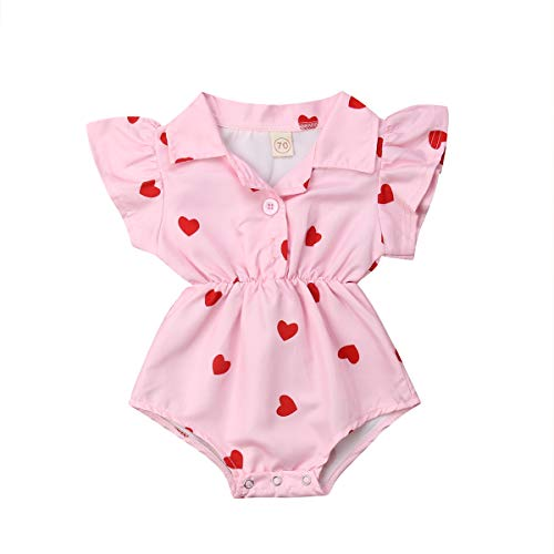 Mubineo Toddler Newborn Infant Baby Girl Ruffle Blouse Romper Summer Cute Short Jumpsuit Clothes (Pink(Heart), 9-12 Months)