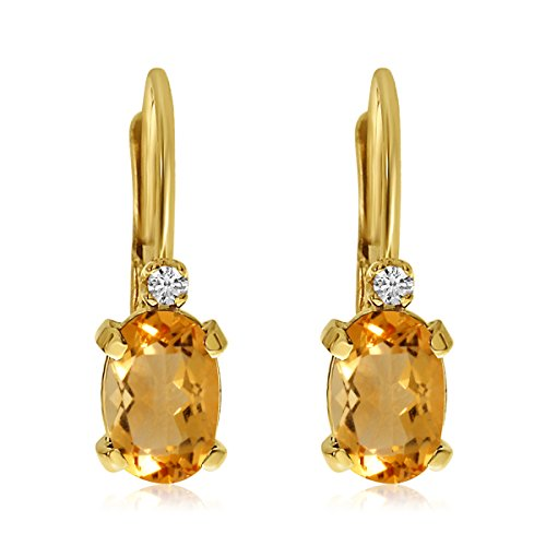 Citrine And Diamond Earrings (14k Yellow Gold Oval Citrine and Diamond Leverback Earrings)