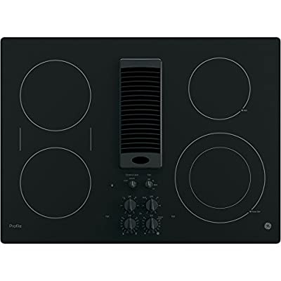 """GE Profile 30"""" Black Electric Cooktop With Downdraft"""