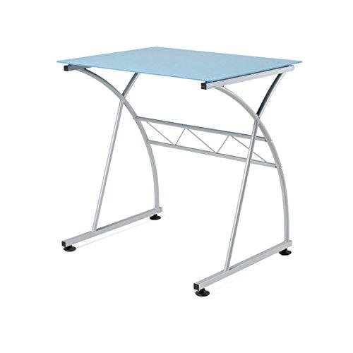 Due-Home - Mesa Escritorio Ordenador Newton, Cristal Azul Estructura metalica, Medidas 70x54x73 de Alt