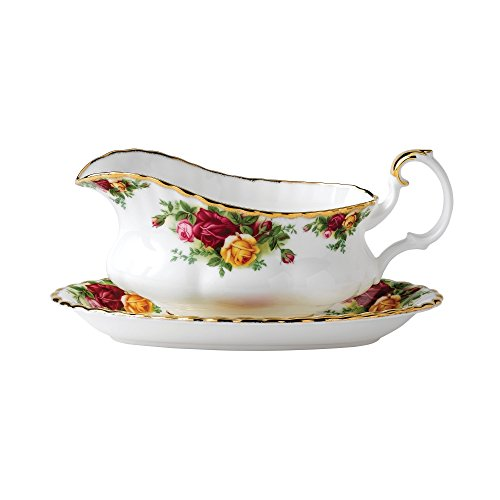 Royal Albert Old Country Roses Gravy Boat Gold Trim Gravy Boat