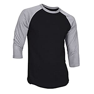 DREAM USA Men's Casual 3/4 Sleeve Baseball Tshirt Raglan Jersey Shirt Black/H Gray 2XL