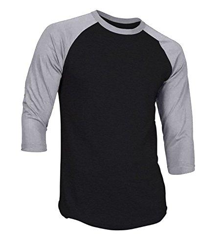 (DREAM USA Men's Casual 3/4 Sleeve Baseball Tshirt Raglan Jersey Shirt Black/H Gray)