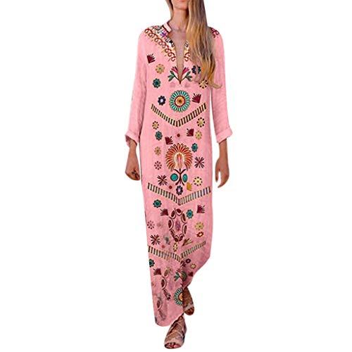 Sexy Side Slit Bohemian Maxi Dress Women Cotton and Linen Print V-Neck Shift Boho Pink