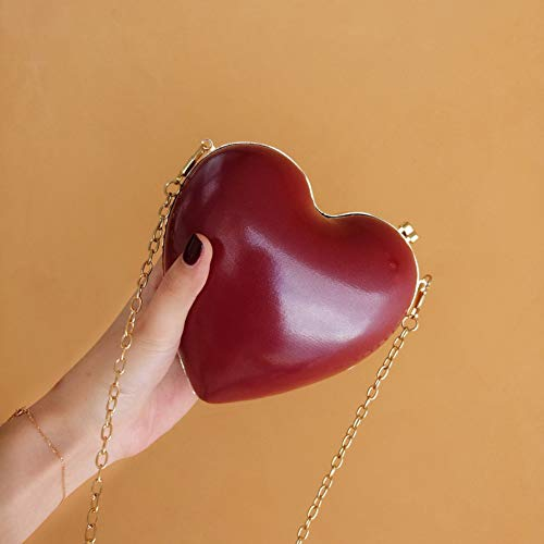 HKDUC Evening Bags Heart Shaped Red Chain Shoulder Purse Day Clutch Bags for Wedding Party Banquet Bag (Red Heart Purse Beaded Shaped)