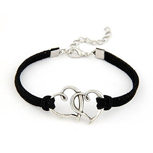 Price comparison product image AMA(TM) Unisex Love Heart Handmade Leather Wrap Wrist Band Bracelet Jewelry Weave Bracelet Gift