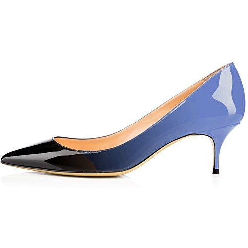 UMEXI for Toe Blue Fashion Pointed Pumps Lady's to Wedding Women Dress Low Heel Heel Black Kitten rxvUErqw