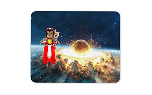 Two funny cats are driving a moped Mouse pad Gaming Mouse pad Mousepad Nonslip Rubber Backing