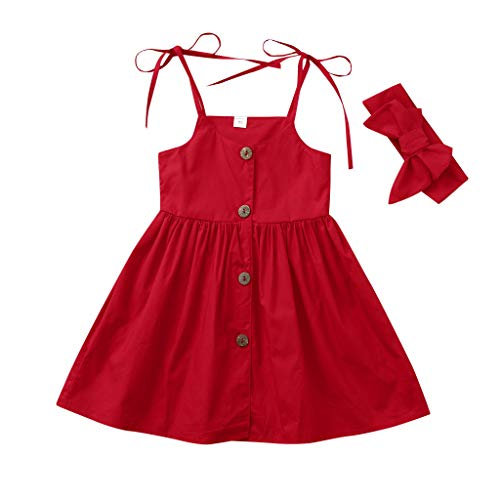 MALLOOM Summer Toddler Baby Girls Sleeveless Solid Print Dress+Headbands Outfits Red