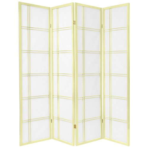 Oriental Furniture 6 ft. Tall Double Cross Shoji Screen - Special Edition - Ivory - 4 Panels