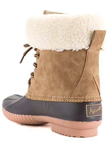 Avanti Reveal Womens Duck Boot - Waterproof Rainboot - Afneembare Kraag - Monogram Bruin En Bruin