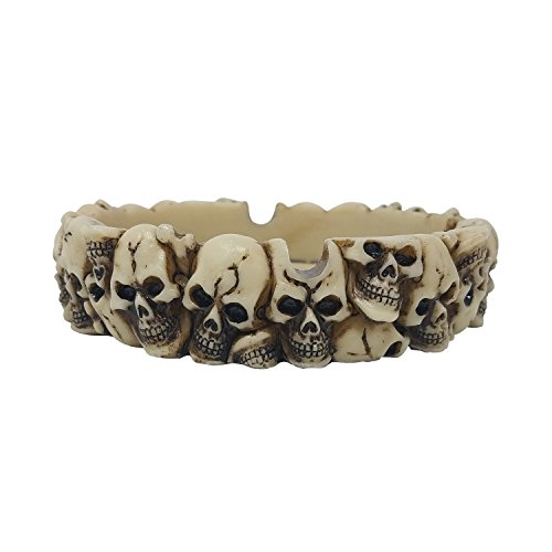 (PolyPlus Bone Skull Heads Cigarette Ashtray for Outdoors and Indoors Use - Modern Home Decor Tabletop Ash tray for Smokers - Nice Gift for Men and Women)